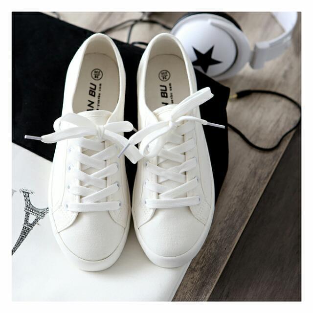 經典款白步鞋 顯瘦 小白鞋 帆布 綁帶白鞋 平底鞋 休閒鞋 懶人鞋 熱賣35-40