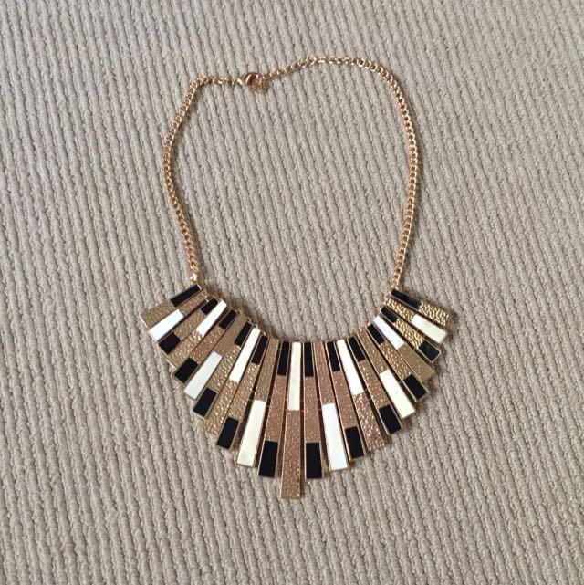 Collette Gold, Black & White Statement Necklace