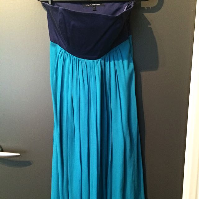 French Connection Colour Block Strapless Dress