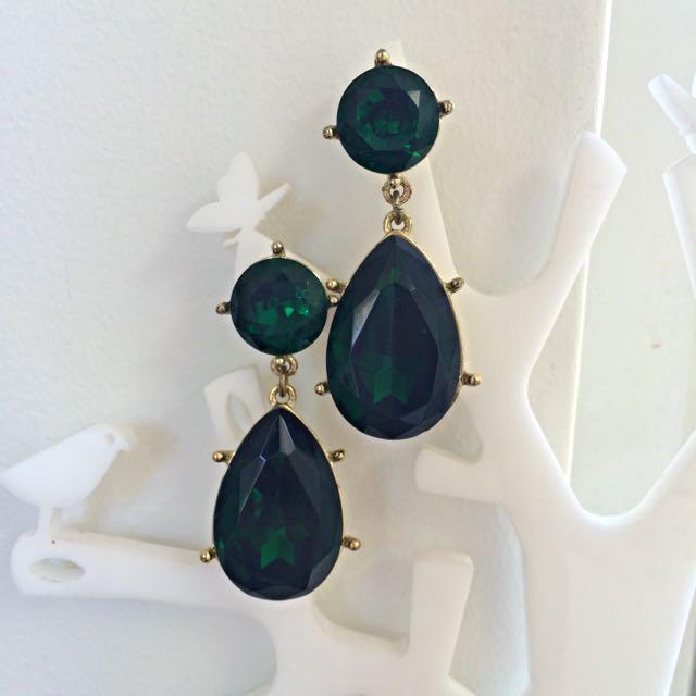 PRICE DROP! Dark Green Drop Earings