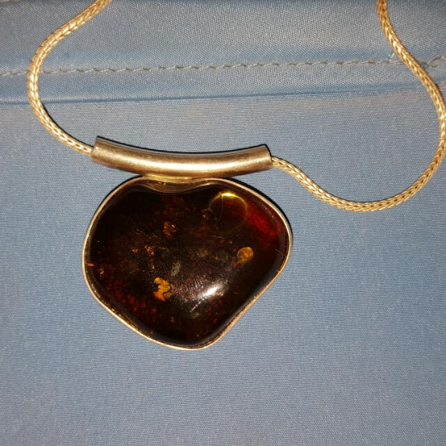 Green Amber Pendant Large With Free Chain