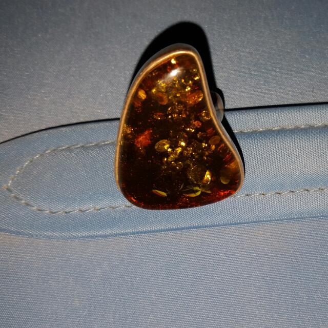 Green Amber Ring Sterling Silver