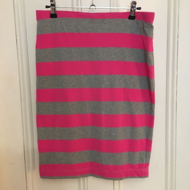 Grey & Pink Striped Skirt