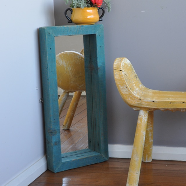 Handcrafted Blue Oregon Timber Mirror