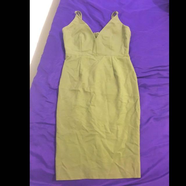 Khaki Gingham And Heels Midi Dress