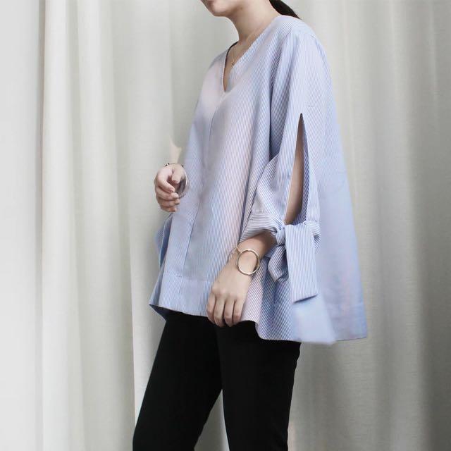 Lailaiii| 韓 春夏 蝴蝶結綁帶 袖口 v領 寬鬆 造型上衣 Zara 質感設計