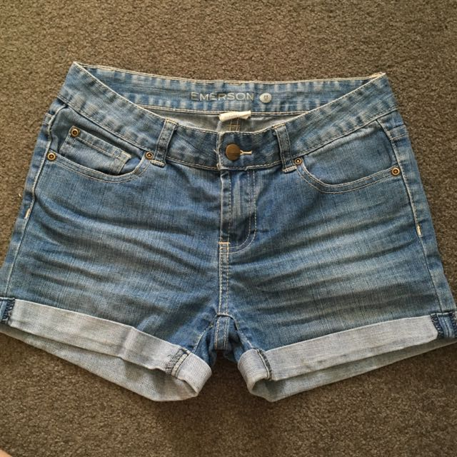 Mid High-Wasted Denim Shorts