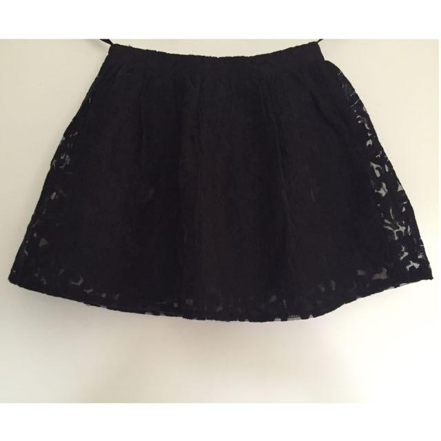 Mooloola Black Lace Patterned Mini Skirt - Size 8