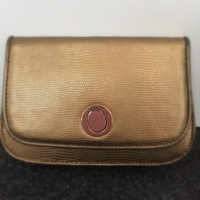 Oroton Gold Clutch Bag