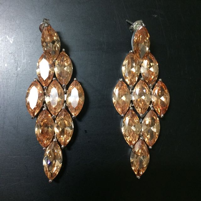 Peach/apricot Cubic Zirconia Earrings
