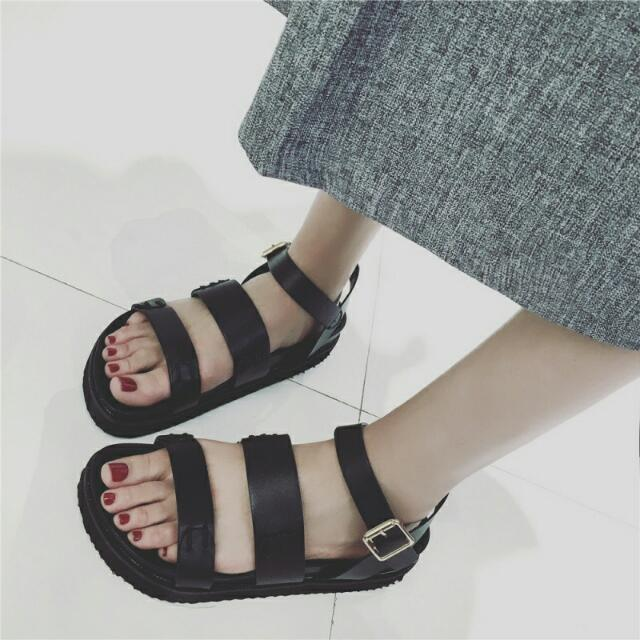 94290b4474a3 PO  Korean Ulzzang Style 3 Strappy Buckle Sandals Platform Shoes ...