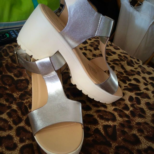 silver/white thick heels
