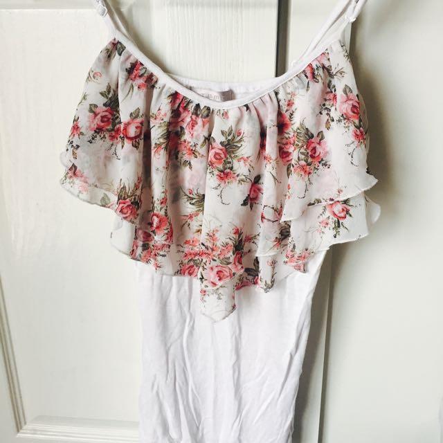 Temt Floral & White Singlet Top Size S