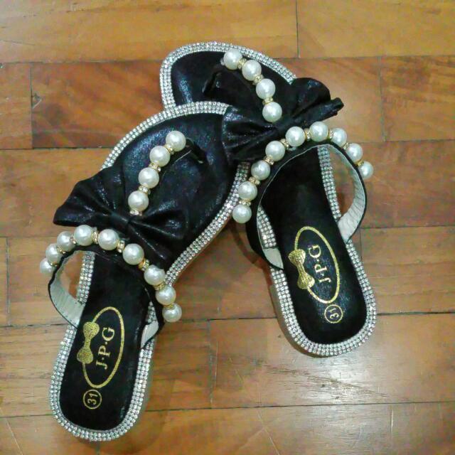 1432faff9a4e2 Vintage glitter Pearl Slippers