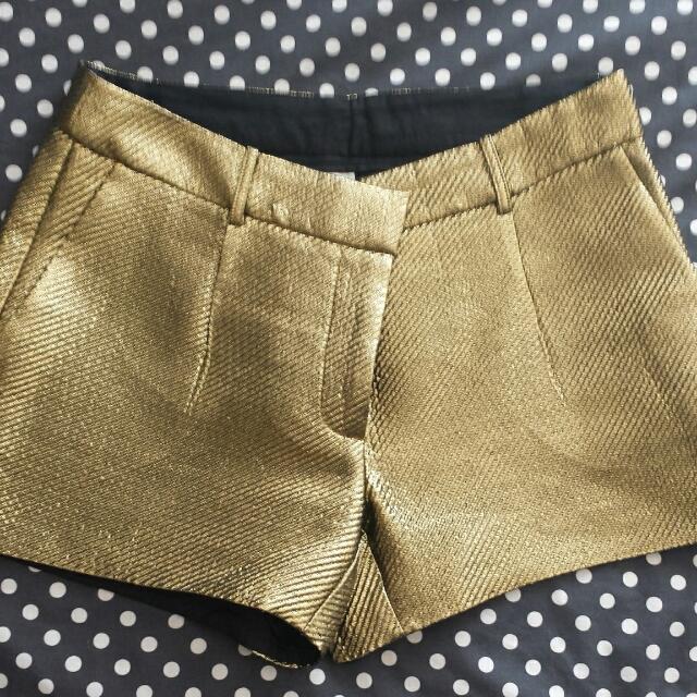 Witchery Gold Shorts Size 12