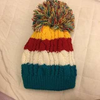 毛帽 冬天 毛線針織 大毛球