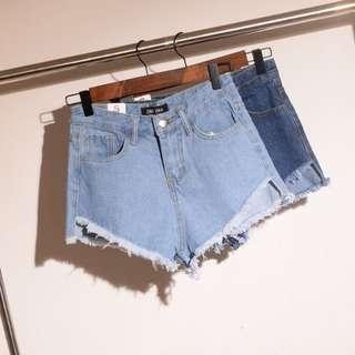 歐美個性前短後長高腰顯瘦牛仔短褲