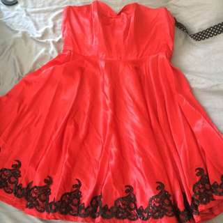 Vivienne Of Holloway Red Satin And Lace Dress Uk Size 18