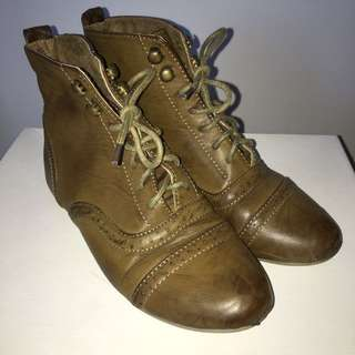 Brown Ankle Lace Up Boots