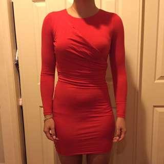 Kookai Size 2 Red Long Sleeve Dress