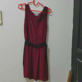 Maroon Dress Chic Simple