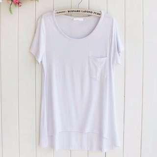 (免運) 全新 莫代爾 口袋圓領 寬鬆T恤 前短後長 白色