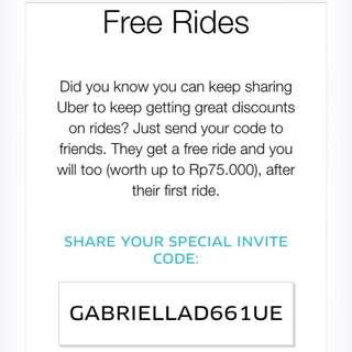 UBER free ride 75rb