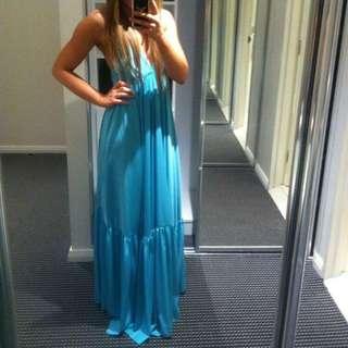 Custom Made Silk Blue Cocktail Maxi Dress