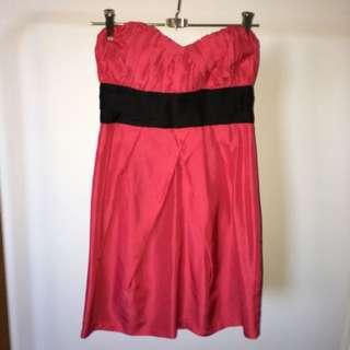 Wish Pink Silk Strapless Dress