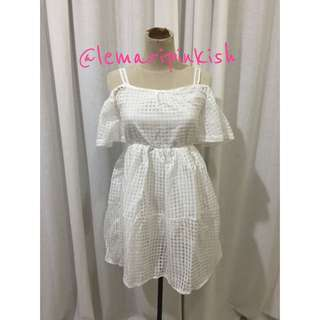 sabrina white dress (import bangkok)
