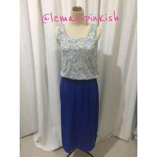 blue flowery maxi dress