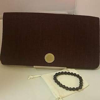 STELLA MCCARTNEY FABRIC CLUTCH POUCH  with Matching Colour Amethyst bracelet .