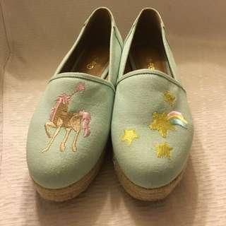 全新Dip Drops 帆布刺繡公仔platform shoes