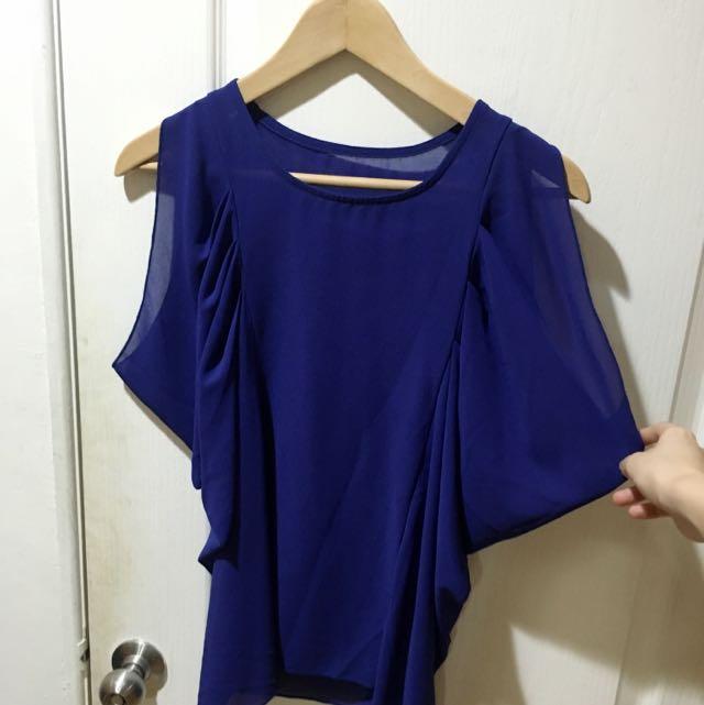 寶藍 雪紡 上衣 特殊袖口設計
