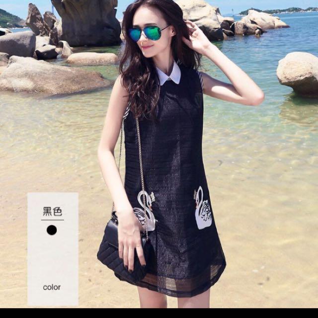 韓版顯瘦無袖刺繡娃娃領A字裙