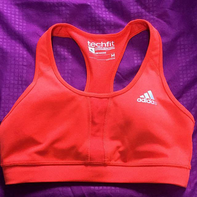 34cfc6f511 Adidas Techfit Orange Sports Bra