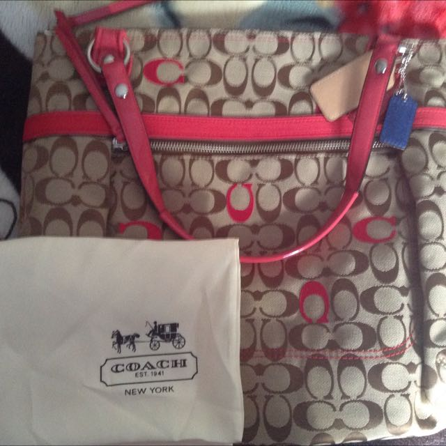 AUTHENTIC COACH POPPY EMBROIDERED C GLAM TOTE