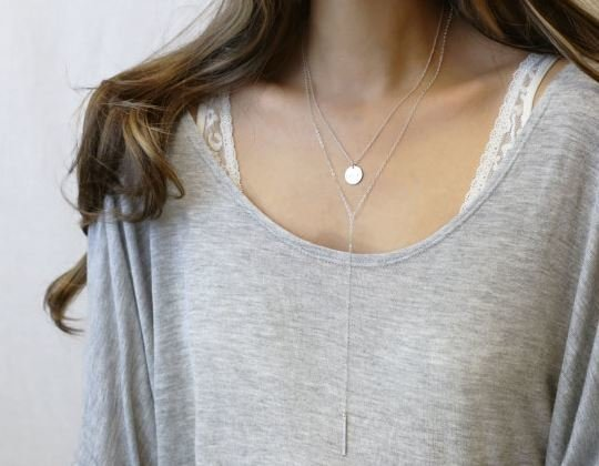 Dainty Delicate Silver Layered Necklace