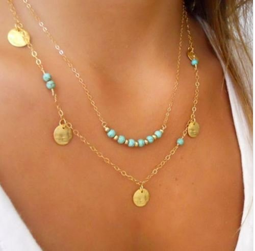 Double Layer Turquoise Bead Disc Necklace
