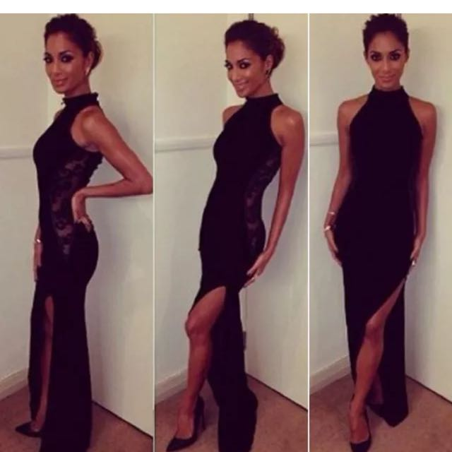 Evening Formal Black Split Leg Dress Sz 12 NWT