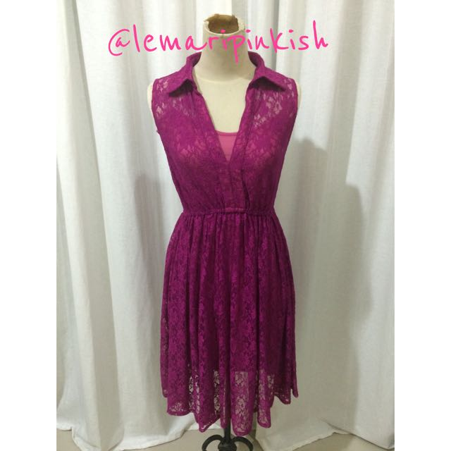 fuchia lace dress