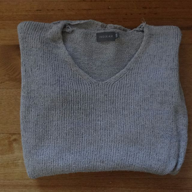 Indikah Grey/Silver High Low Knit Jumper