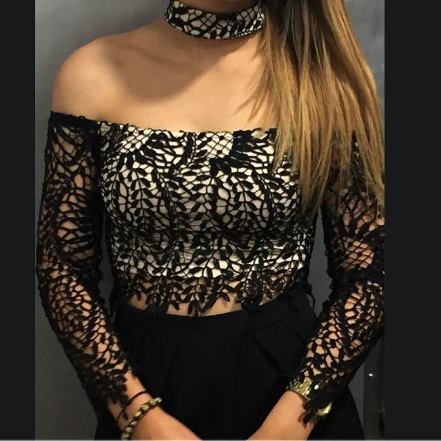 Lace Off The Shoulder Crop
