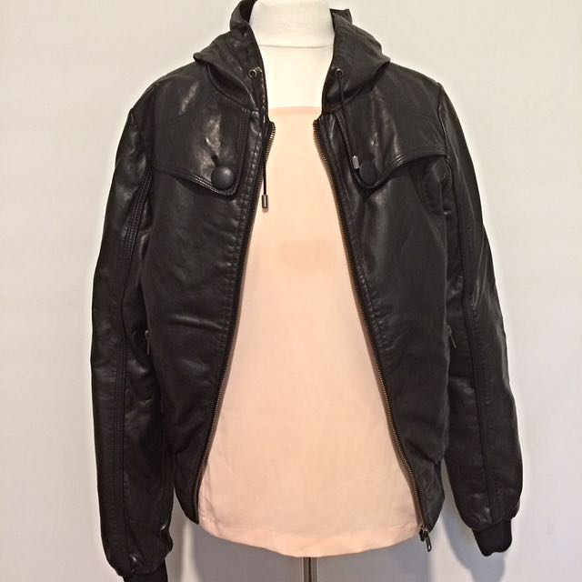 Leather Look Bomber Jacket With Hood