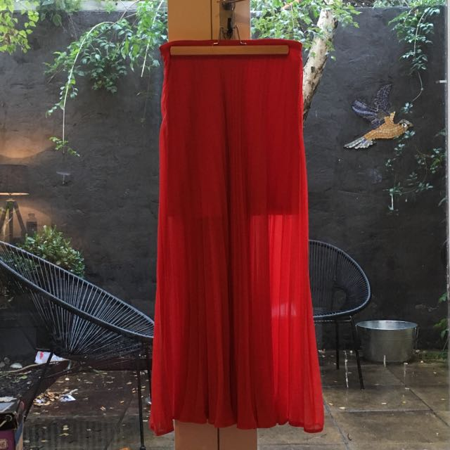 Maxi Sheer Pleated Skirt