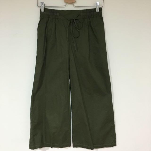 日牌moussy 墨綠寬褲