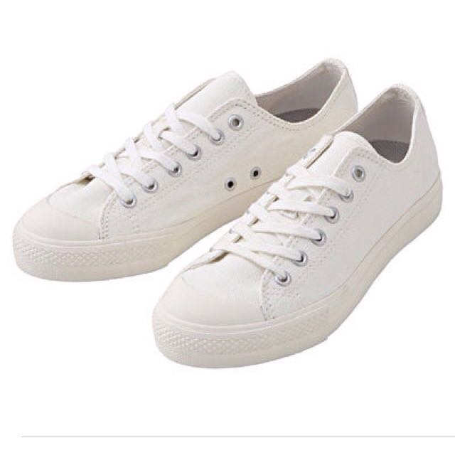 (全新)Muji 全白 帆布鞋 24號