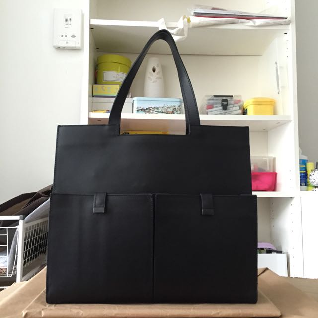 Pre-Loved ZARA Structured Leather Tote Bag