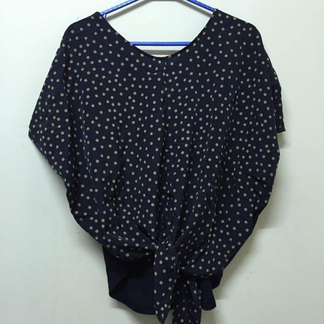 RETRO GIRL 深藍水玉罩衫 《二手》