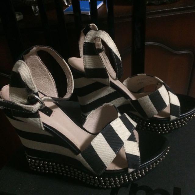 RMK Black & White Studded Wedges